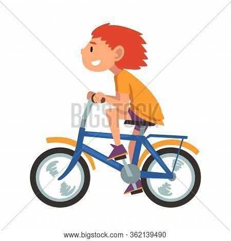 Boy Riding Bike, Teenager Bicyclist, Summer Outdoor Activity Cartoon Vector Illustration