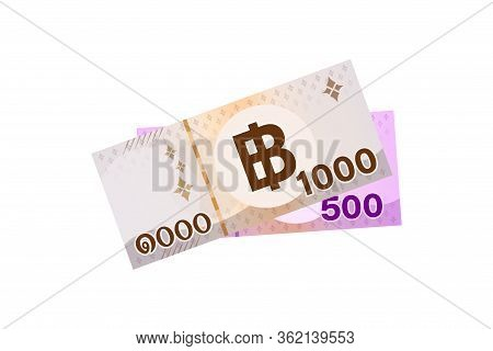 Banknote Money 1500 Baht Thai Isolated On White, Thai Currency One Thousand Five Hundred Thb Concept
