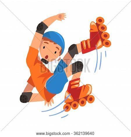 Rollerblading Boy, Teen Boy Falling On Roller Blades, Outdoor Activity Cartoon Vector Illustration