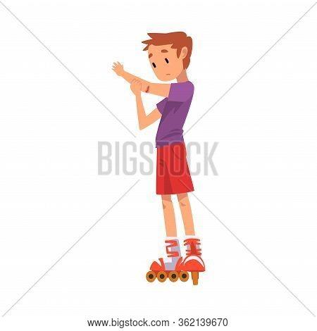 Rollerblading Boy, Cute Child Roller Skating Kid Outdoor Activity Cartoon Vector Illustration On Whi