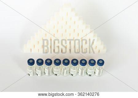 Sugar Addiction, Insulin Resistance, Unhealthy Diet, Sugar Cubes Pyramid, Bottles Of Insulin For Vac