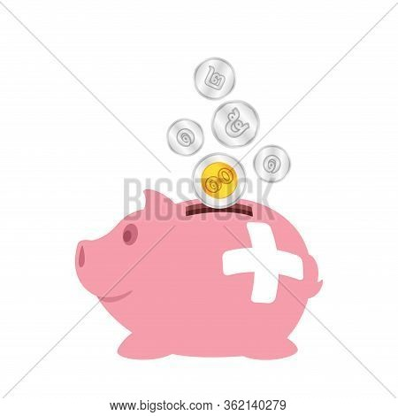 Piggy Bank And Thai Coin Money Isolated On White, Pink Piggy Bank Icon For Savings Concept, Cute Pig