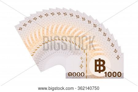 Banknote Money 20,000 Baht Thai Isolated On White, Thai Currency Twenty Thousand Thb Concept, Money