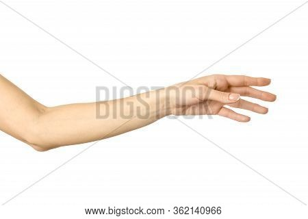 Reaching Hand. Woman Hand With French Manicure Gesturing Isolated On White Background. Part Of Serie