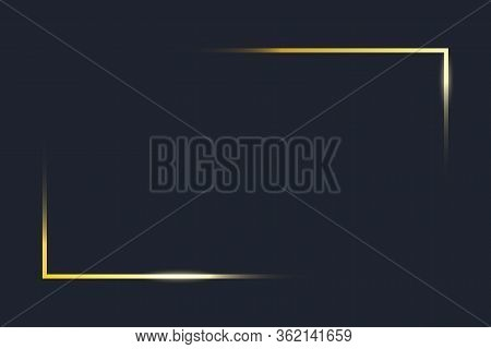 Transparent Gold Frame Angles. Golden Frame Elements On Dark Blue Background. Rectangle Corners Of B
