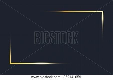 Transparent Gold Frame Angles. Golden Frame Elements On Dark Blue Background. Rectangle Corners Of B