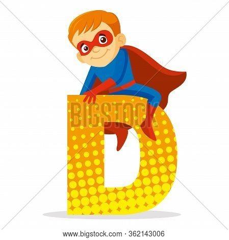 Abc Letter D Superhero Boy Cartoon Character Vector Illustration T-shirt Design