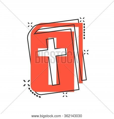 Bible Book Icon In Comic Style. Church Faith Cartoon Vector Illustration On White Isolated Backgroun