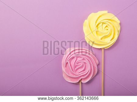 Yellow And Pink Rose Candy   In Pastel Colors On A Wooden Stick On A Grey  Background, Valentine, Mo