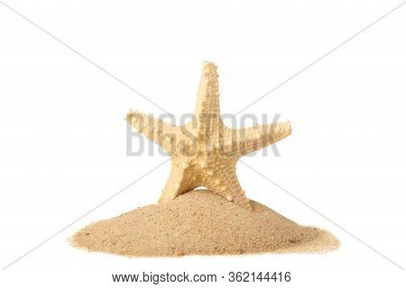 Starfish With Sand Isolated On A White Background With Copy Space. Top View