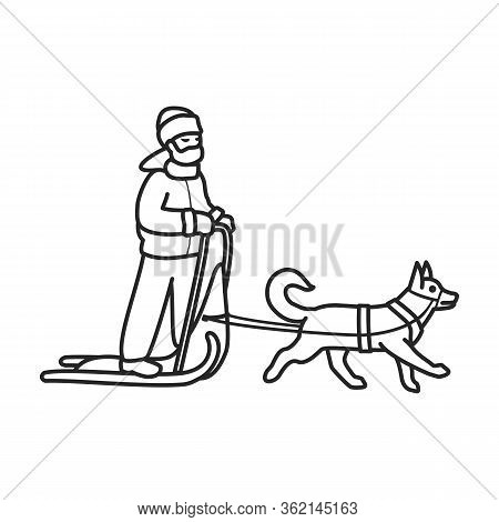 Dog With Sled Vector Icon.outline Vector Icon Isolated On White Background Dog With Sled.