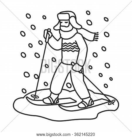Skier On Ski Vector Icon.outline Vector Icon Isolated On White Background Skier On Ski.