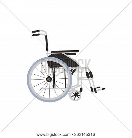 Wheelchair Design Medical Element Icon Isolated On White Background. Disabled Chair, Flat Style. Inv