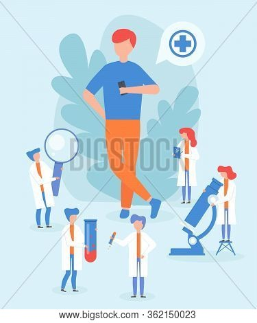 Complete Medical Test, Full Body Therapeutic Check Male Character, Flat Vector Illustration. Tiny Pr