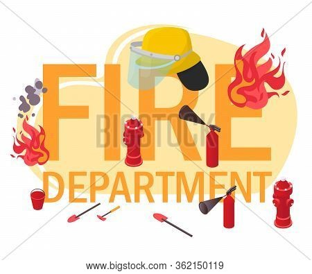 Fire Department Text Concept Banner Isolated On White, Flat Vector Illustration. Fireman Protective