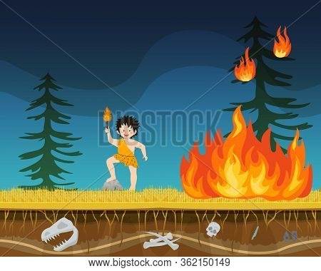 Prehistoric Male Character Extract Primitive Time Fire Flat Vector Illustration. Ancient Man Person