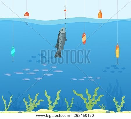 Tropical Sea Fishing Concept, Clean Water Fishing Spot Flat Vector Illustration. Human Person Hobby