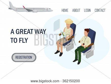 Great Way Fly Web Landing Banner, Character Passenger International Flight, Flat Vector Illustration