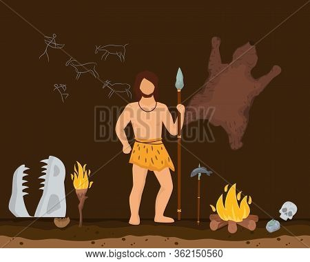 Hunting Character Male Primitive Age, Wildlife Ancient Time Flat Vector Illustration. Man Stand With