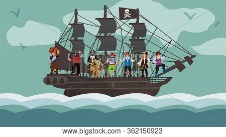 Pirate Ship Team Trip On Boat Flat Vector Illustration. Character Raider Stay In Wood Yacht Steering