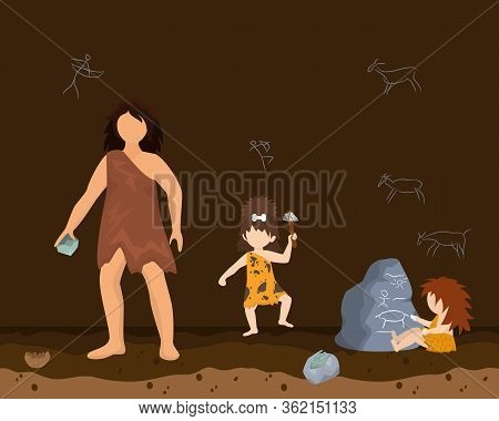 Prehistoric Female Character Male Primitive Age, Wildlife Ancient Time Flat Vector Illustration. Wom
