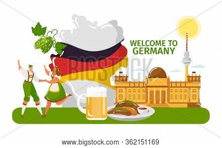 Welcome To Germany, People Male, Female In Traditional Cloth, Dance Isolated On White, Flat Vector I