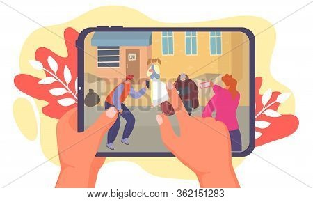 Street Bullying Teenagers, Make Online Recording, Hand Hold Mobile Phone With Video Footage, Isolate