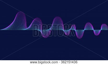 Gradient Sound Wave On The Dark Background.sound Wave Rhythm. Analog Audio Signal. Abstract Gradient