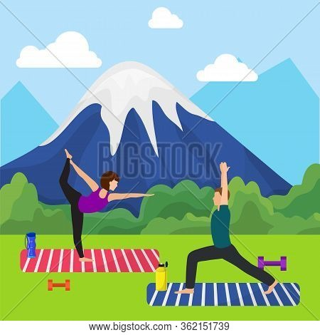 Mountain Workout Nature Character, Couple Male Female Practice Yoga Outdoor Place Exercise Session F