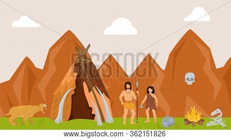 Ancient Character Male Female Hunting Prehistoric Tiger Flat Vector Illustration. Tribe On Hunt Wild