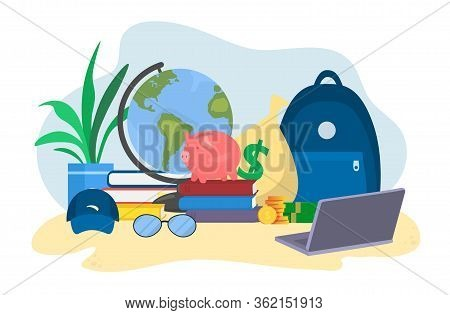 Freelancer Make Money In Travel Trip, Stack Of Gold Coin, Bank Credit And Debit Card, Isolated On Wh
