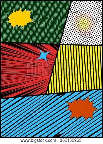 Comics Style Layout Blank Copy Space With Vibrant Colours Portrait On Black With Explosions And Star