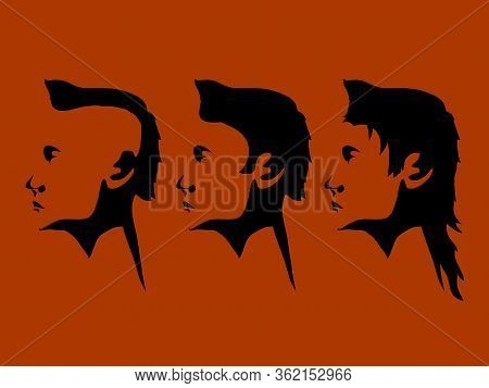 Trio Of Male Head Black Silhouette Hand Drawn With Different Hair Style Over Dark Orange Landscape B