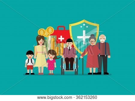 Social Welfare For Children Woman Senior And Disabled People. Vector Illustration
