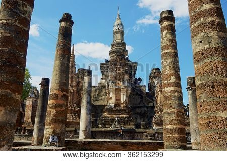 Sukhothai, Thailand - November 11, 2013: Ruins And Columns Of Wat Mahathat In Sukhothai Historical P