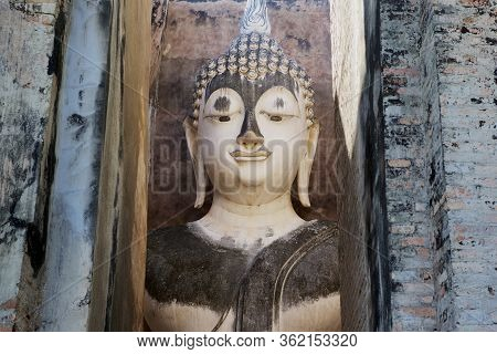 Sukhothai, Thailand - November 18, 2013: Head Of The Buddha Statue At Si Satchanalai Temple In Sukho