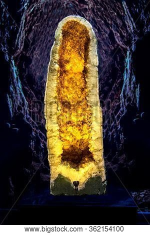 Natural Crystals Of Citrine Inside A Stone, Geode Citrine With Large Yellow Crystals, A Deep Golden