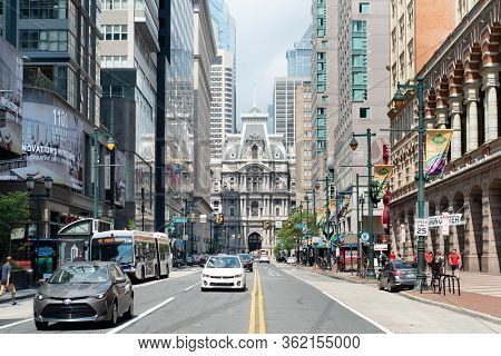 View of Philadelphia City Hall from Market Street in Philadelphia, Philadelphia, USA on July 6, 2019.