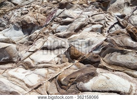 The Abstract View Of Red Point Peninsula Eroded Rocks On St. Thomas Island (u.s. Virgin Island).