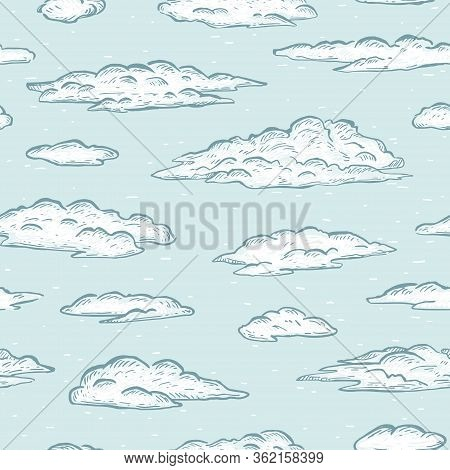 Sketch Hand Drawn Graphic White Clouds On Blue Background. Seamless Vector Pattern.  Wrapping Paper,