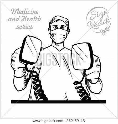 Doctor Hold Defibrillator Medical Clinics Worker Reanimation Hospital Vector Illustration