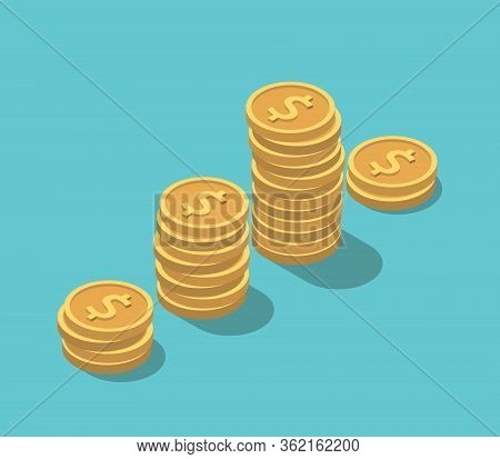 Isometric Gold Dollar Coins Stacks On Turquoise Blue. Financial Crisis, Sudden Decrease, Investment