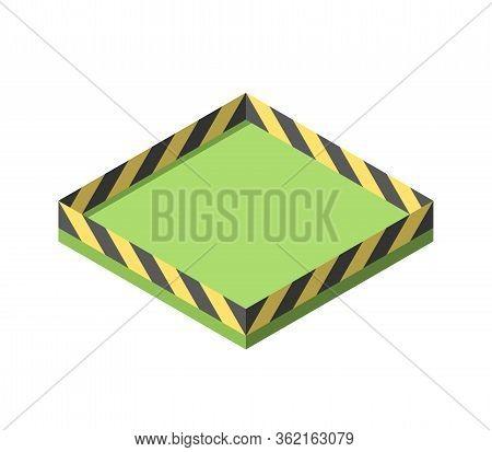 Empty Isometric Area With Barricade, Caution Or Hazard Tape Fence. Coronavirus Pandemic, Self Quaran