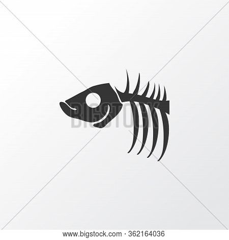 Fish Bone Icon Symbol. Premium Quality Isolated Fish Skeleton Element In Trendy Style.
