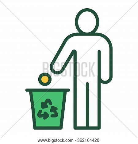 Do Not Litter Color Line Icon. Man Throws Garbage. Pictogram For Web Page, Mobile App, Promo.