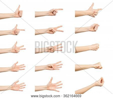Multiple Caucasian Female  Hand Gestures Isolated Over White Background, Set Of Multiple Images.
