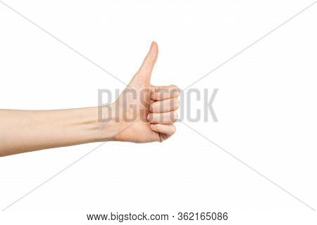Caucasian Woman Hand With Thumb Up Isolated On White Background. Winner Gesture. Approval Concept.