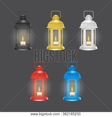 Realistic 3d Detailed Vintage Unusual Lantern Glowing Set Decorative Element. Vector Illustration Of