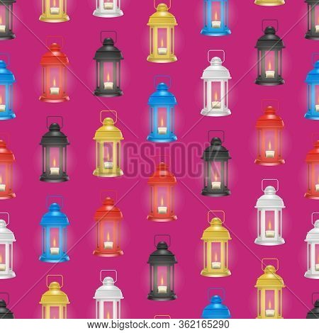 Realistic 3d Detailed Vintage Unusual Lantern Seamless Pattern Background On A Red Glowing Decorativ