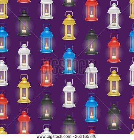 Realistic 3d Detailed Vintage Unusual Lantern Seamless Pattern Background Glowing Decorative Element